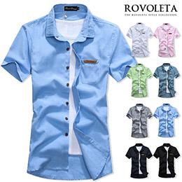 素面螢光色接皮標短袖襯衫