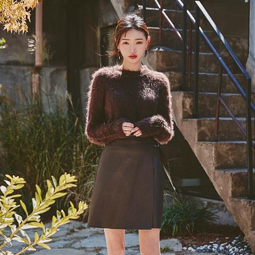 時尚淑女秋季皮革短裙
