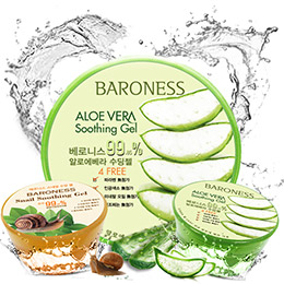 韓國BARONESS99%蘆薈舒緩+ 99.85%蝸牛修護保濕凝凍 300ml