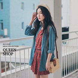 圖騰花紋縮腰背心洋裝