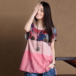 拼接條紋棉麻上衣(3色)