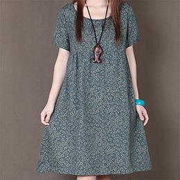 小碎花短袖寬鬆連身裙(3色)