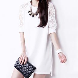 韓版蕾絲露肩百搭洋裝(3色)