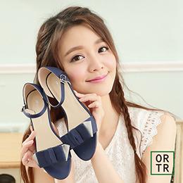 露趾蝴蝶結繫裸涼鞋(深情藍)