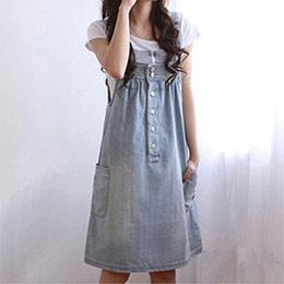 韓版寬鬆大碼牛仔背帶裙吊帶裙(2色)