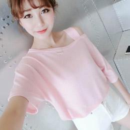 純色甜美露單肩寬鬆T恤