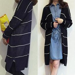 條紋鏤空開襟長版外套(3色)