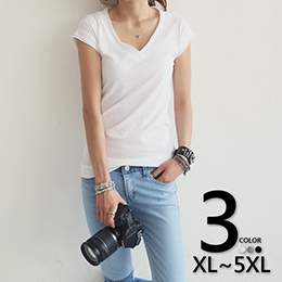 時尚素色V領短袖T恤