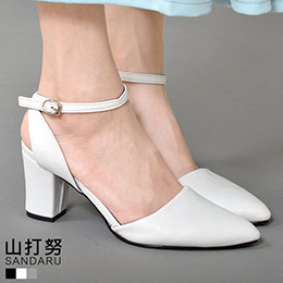 氣質尖頭繞帶低跟鞋