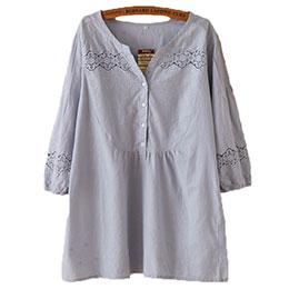 蕾絲鏤空V領長版上衣襯衫