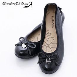 層次拼接蝴蝶結釦飾娃娃鞋-