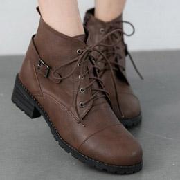 歐美綁帶粗跟短靴