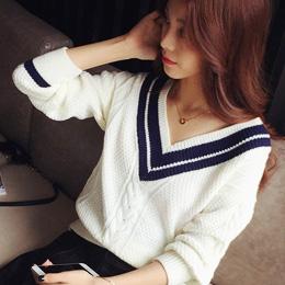 經典學院V領配色麻花針織衫(2色)