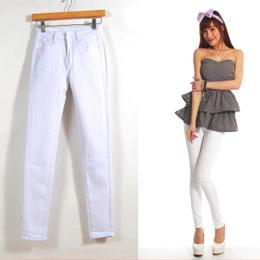純白素面窄管褲