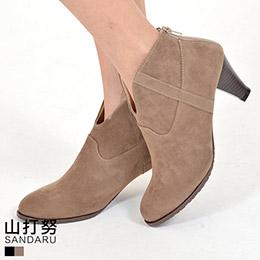 V字後拉麂皮低跟踝靴