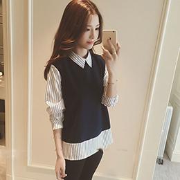 韓版氣質假兩件襯衫