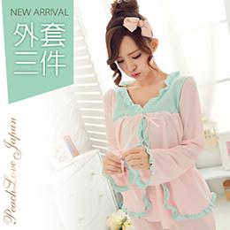 日系三件式浪漫少女棉質睡衣組