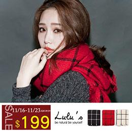 配色大格紋圍巾-3色