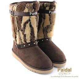 時尚獸紋刷毛皮革扣環中筒靴