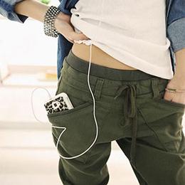 糖果色抽繩大口袋休閒長褲