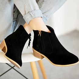 短靴皮質粗跟釦環側拉鍊馬丁