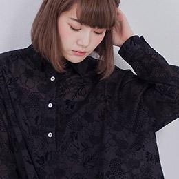 蝶舞寬袖上衣 / 透影黑
