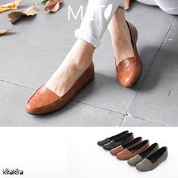古典質感皮革平底鞋