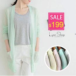 素色簍空V領長版針織外套