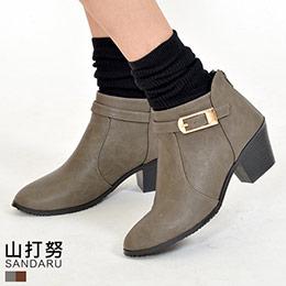 尖頭側扣低跟踝靴(2色)