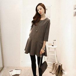韓版顯瘦素面七分袖連身裙
