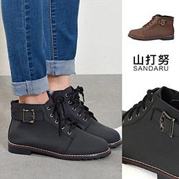 2色│皮革側扣綁帶短靴