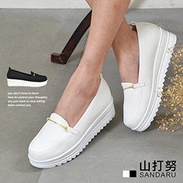 2色│金線扣厚底休閒包鞋