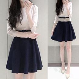 甜美雪紡修身七分袖洋裝(2色)