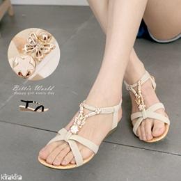 唯美蝶飾金屬繫踝楔型涼鞋