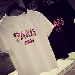 碎花印字PARIS短袖上衣