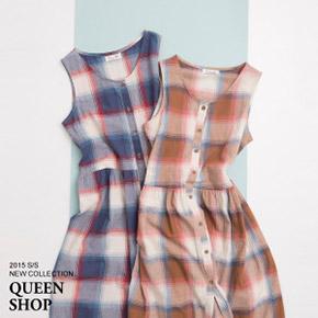 大格紋前排釦細摺無袖洋裝