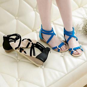 時尚編織繞帶後拉鍊楔型涼鞋