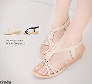 奢華晶鑽寶石絨布楔型涼鞋