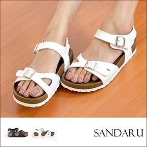 夏季重點.兩版側魔鬼氈平涼鞋