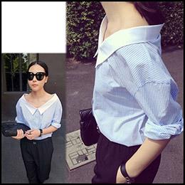 長版特殊領口造型襯衫
