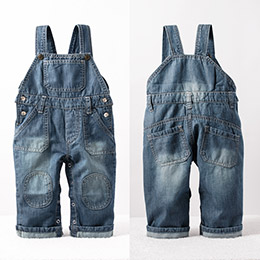 獨家設計 水洗牛仔吊帶褲