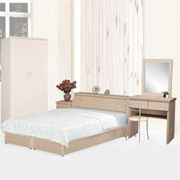 艾莉5件式房間組-兩色(白橡/胡桃)