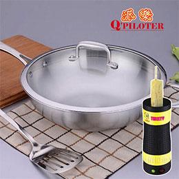 派樂正304不鏽鋼炒菜鍋32cm(玻璃鍋蓋)