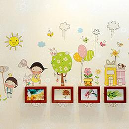 4框童趣壁貼相框牆