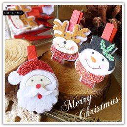 亮片布質聖誕木夾-1包3入