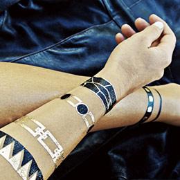 時尚金屬刺青燙金紋身貼紙