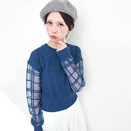 KBF 日本原裝進口透膚格紋針織衫