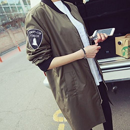 MA-1軍裝拉鍊長版外套