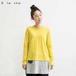 72H出貨★雙色剪接假口袋長版上衣(3色)
