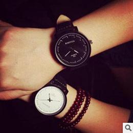 韓版磨砂皮帶情侶手錶